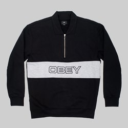OBEY BARON ZIP CREW POLO TOP BLACK MULTI