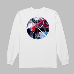 POLAR SKATE CO. ORCHID FILL LOGO LS TEE WHITE
