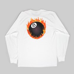 STUSSY FIREBALL LONG SLEEVE TEE WHITE