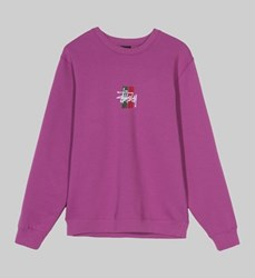 STUSSY 2 BAR STOCK APPLIQUE CREW SWEAT BERRY
