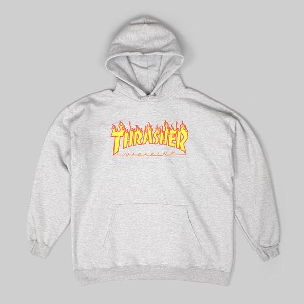 THRASHER FLAME LOGO PO HOOD HEATHER GREY | THRASHER
