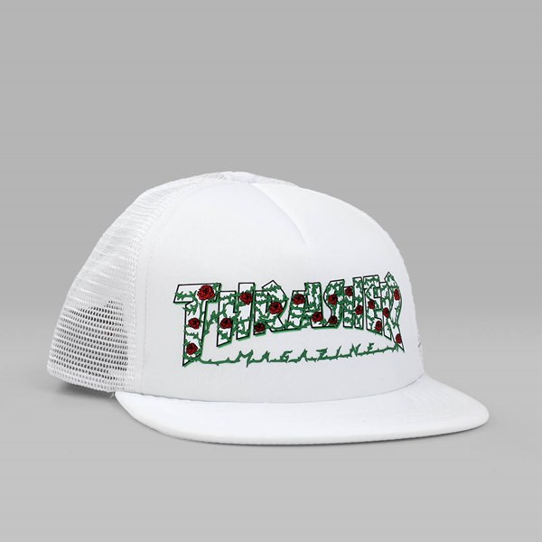 bed476ff360 THRASHER ROSE MESH TRUCKER CAP WHITE