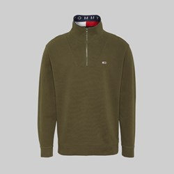 TOMMY JEANS SOLID ZIP MOCK NECK OLIVE NIGHT