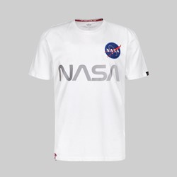 ALPHA INDUSTRIES NASA REFLECTIVE SS T-SHIRT WHITE