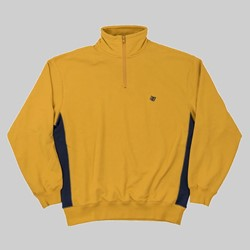 BRONZE 56K QUARTER ZIP MOCK NECK MUSTARD NAVY
