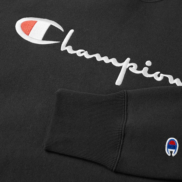 CHAMPION REVERSE WEAVE BIG SCRIPT CREW SWEAT BLACK