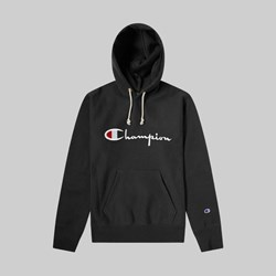 CHAMPION REVERSE WEAVE BIG SCRIPT HOOD SWEAT BLACK