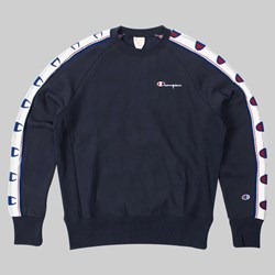 CHAMPION REVERSE WEAVE KNIT DETAIL CREW NAVY