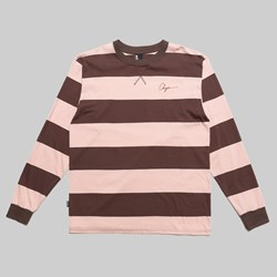 CHRYSTIE NYC SCRIPT LOGO STRIPE LS T-SHIRT APRICOT BROWN