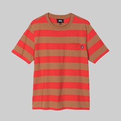 STUSSY CLASSIC STRIPE SS CREW BROWN