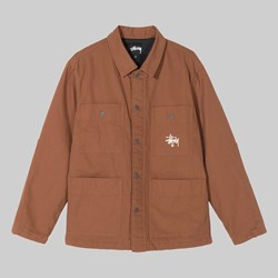 STUSSY QUILTED CHORE COAT BROWN