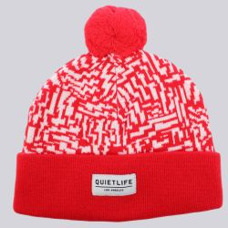 The Quiet Life Aztec Pom Pom Beanie Red White